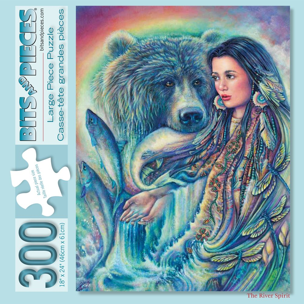 Bits and Pieces - 300 Piece Jigsaw Puzzle for Adults - The River Spirit - 300 pc Native American Jigsaw by Artist Gloria West