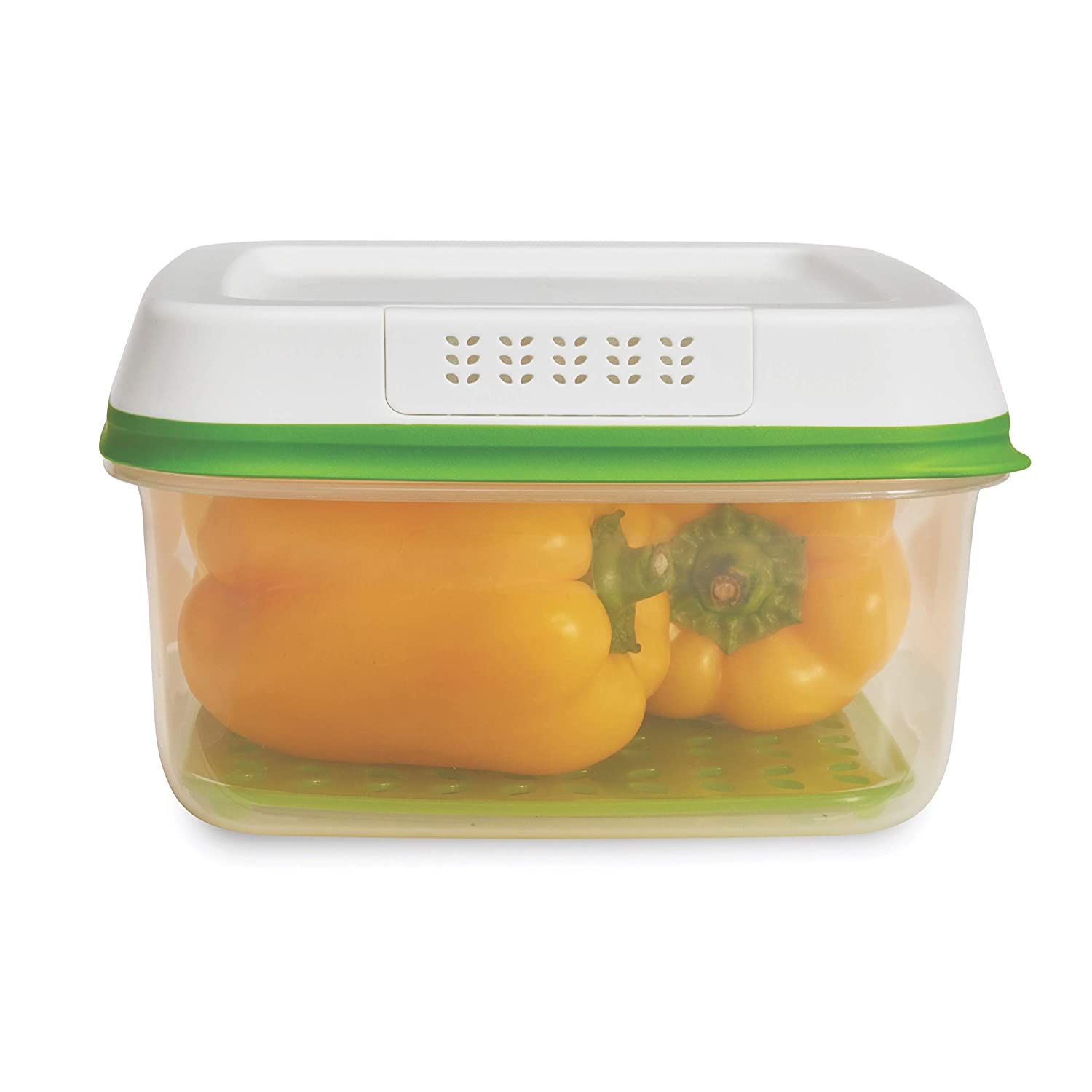 Rubbermaid FreshWorks Produce Saver Food Storage Container, Large Square, 11.1 Cup, Green 1996984