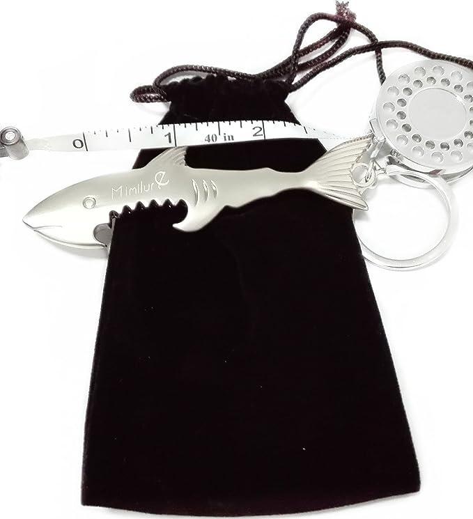 Volar Pesca Zinger Retractor con 40 en cinta métrica, tiburón y peces estilo cerveza abridor llavero buen pescador regalo: Amazon.es: Deportes y aire libre