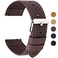 Fullmosa 5 colori per cinturino di ricambio, Breeze cinturino in pelle per orologio da donna e uomo,adatto a orologio tradizionali e smart watch di18mm,20mm,22mm o 24mm,20mm Caffe
