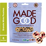 MadeGood Mixed Berry Granola Minis, 6 Pouches (3.5 oz each); School Safe Snack, Organic, Gluten Free, Allergy Friendly, Non-GMO, Nut Free, Crunchy Yet Chewy Granola Clusters of Oats and Berries