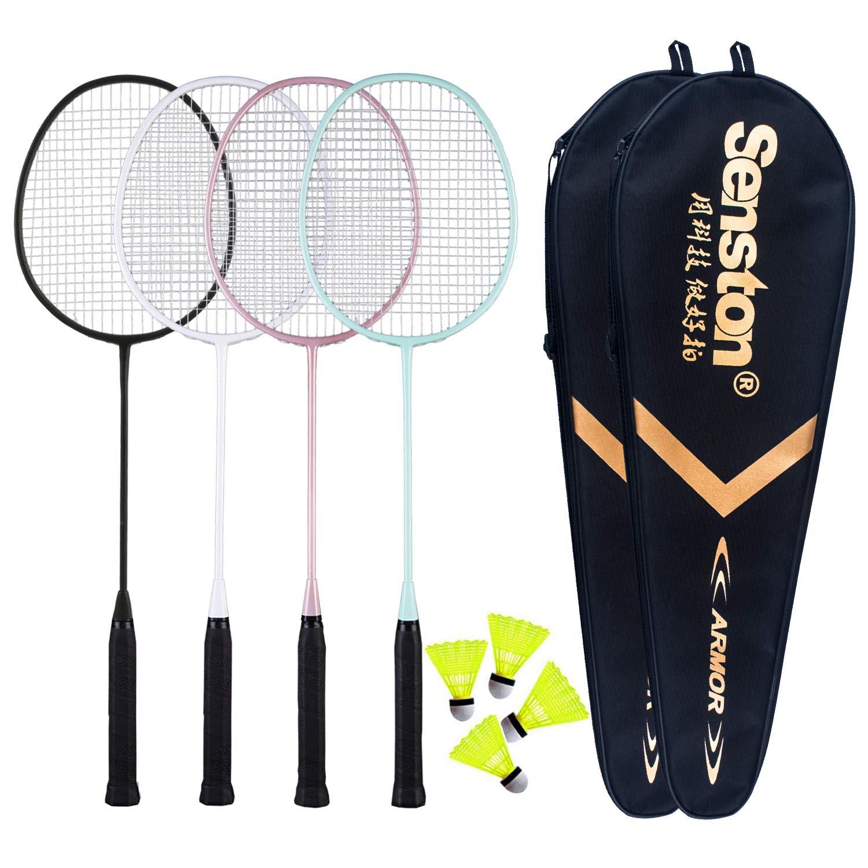 Senston - 4 Player Badminton Racket Set Including 2 Badminton Bag/4 Rackets/4 Nylon Badminton