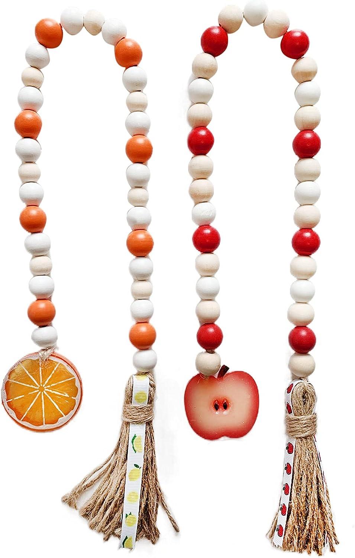 Ipoouer 2 PCS Orange Apple Wood Bead Garland, Summer Country Decor Red Orange Rustic, Decorative Farmhouse Rustic Home Decor Tiered Tray Decor