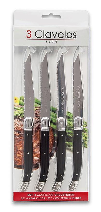 3 Claveles - Set de 4 cuchillos Chuleteros Bistro, Mango ABS Ergonomico, Acero Inoxidable - (11,5cm - 4,5
