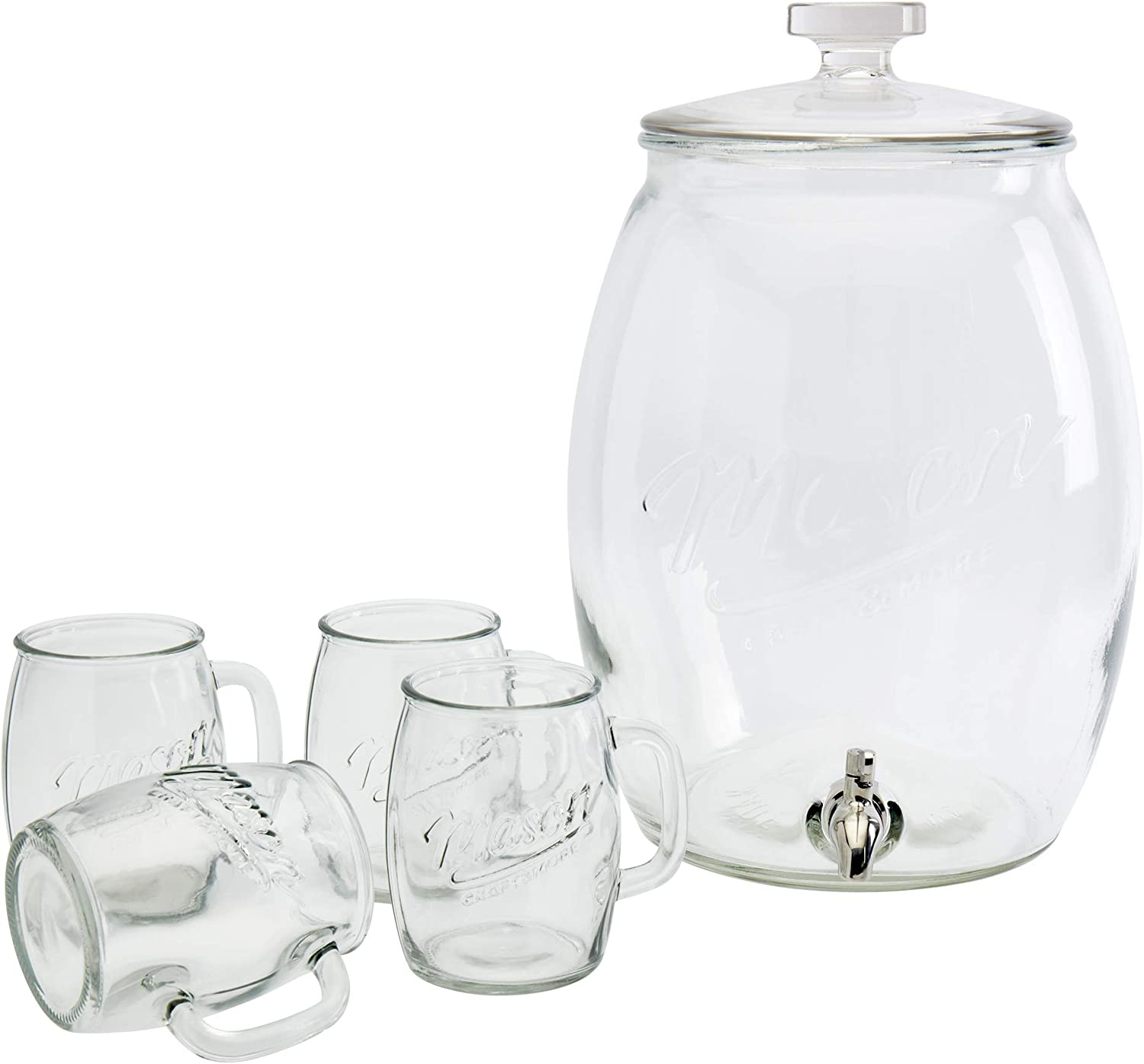 Mason Craft & More Drinkware Collection- Durable Glass Leak Proof Beverage Glassware, 5 Piece 4 Gallon Belly Dispenser Set