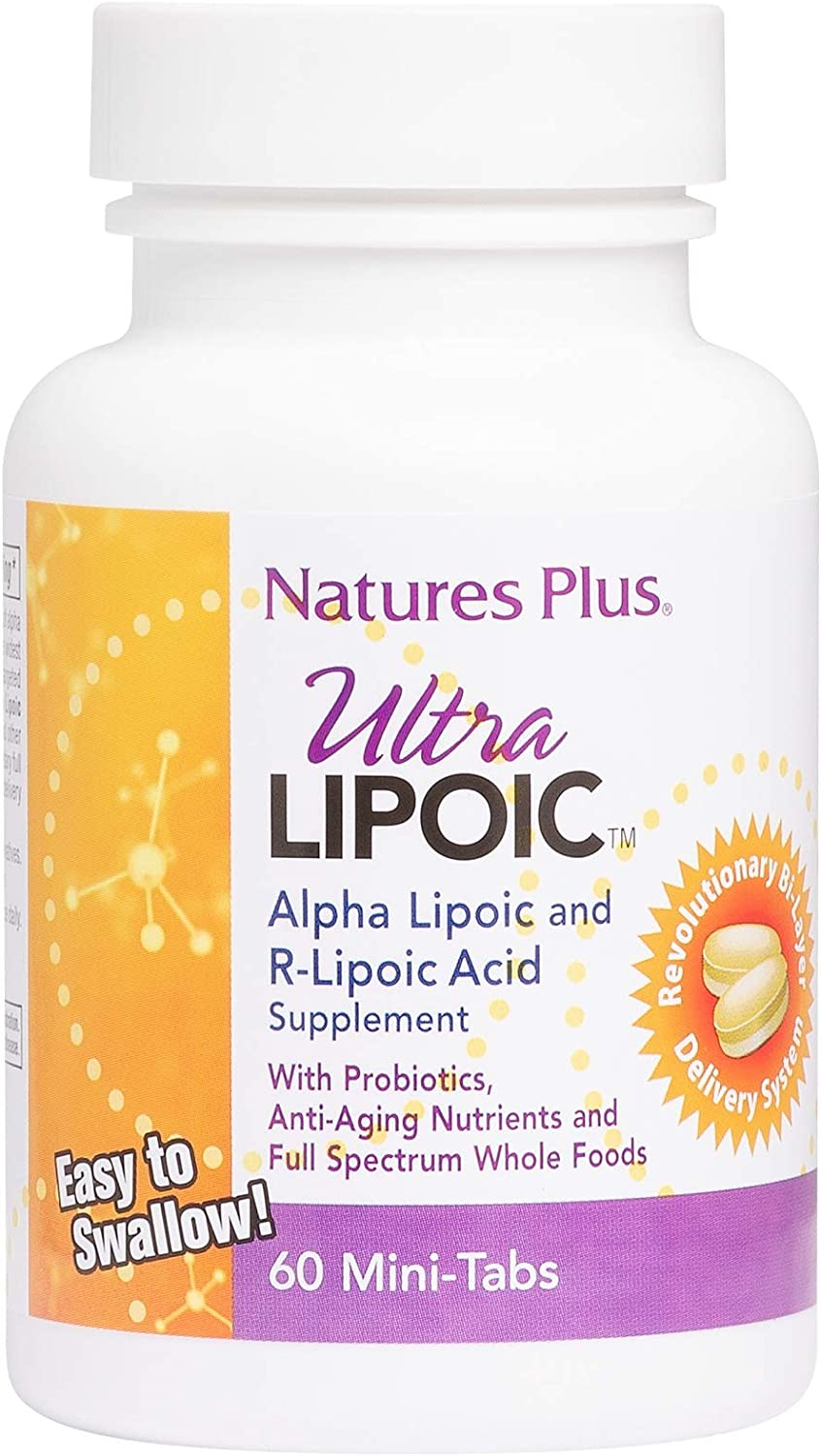 NaturesPlus Ultra Lipoic Bi-Layered Mini-Tabs - 500 mg Alpha Lipoic Acid, 60 Easy to Swallow Mini Tablets - Antioxidants, Probiotics, Anti-Aging Nutrients & Whole Foods - Gluten-Free - 30 Servings
