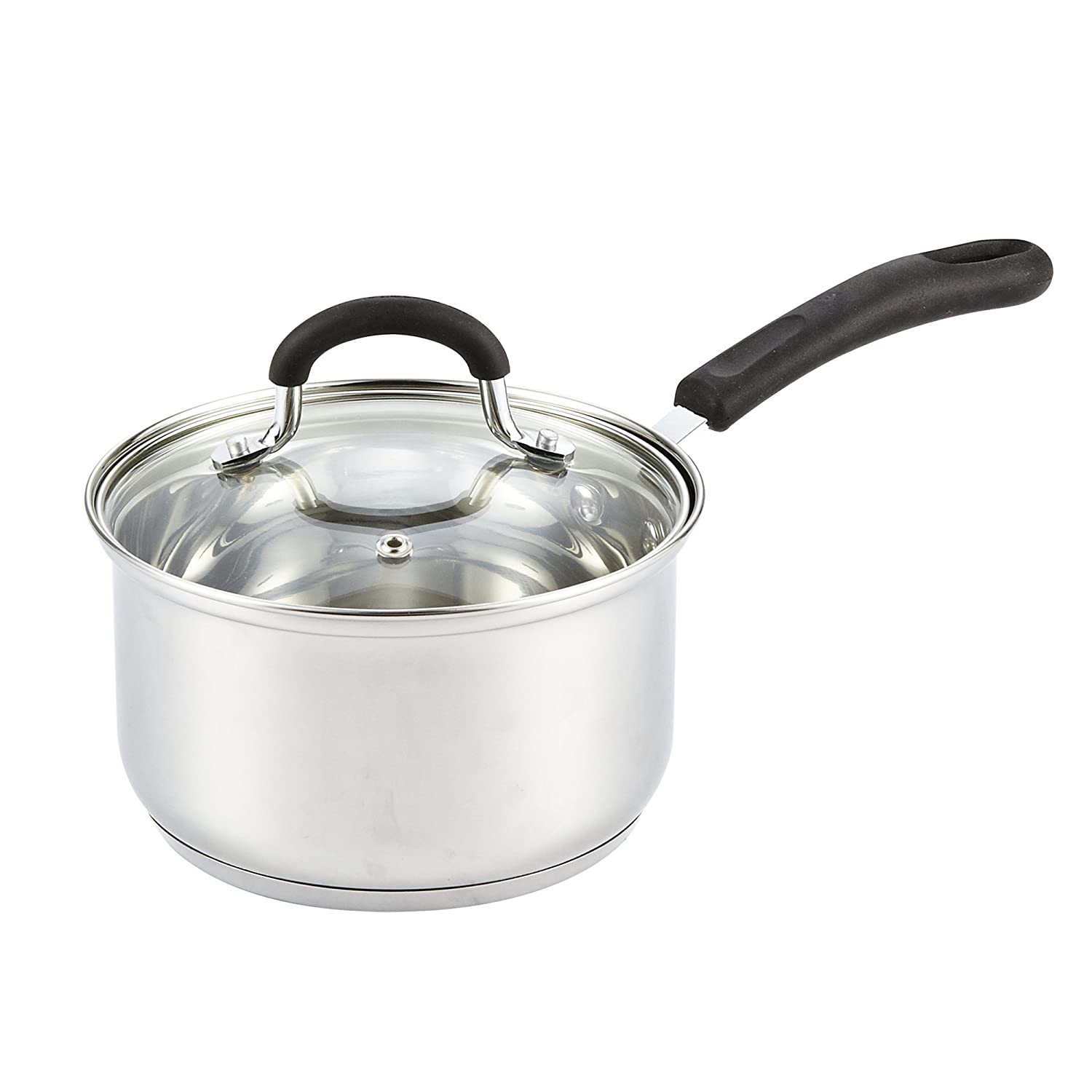 Cook N Home 02416 Lid, Silicone Handle 2-Quart Stainless Steel Saucepan, 2-Qt, Silver