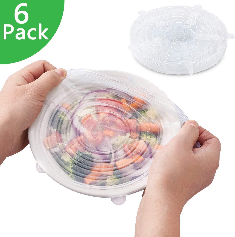 Tapas De Silicona Elástica Protectoras para Alimentos 6 Paquetes ...