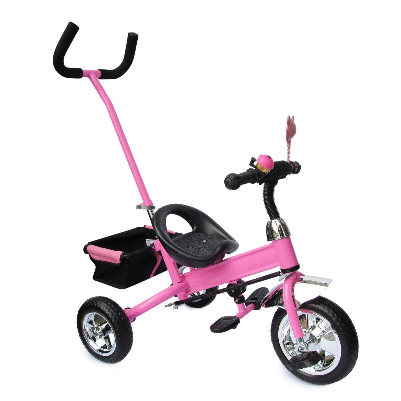 ピンクの子供用3輪ホイール B01D3SQS56、子供用ホイール、バスケット、スイベルステアリングロッドコントロール付きPOWER STEERING、ステアリングホイール、三輪車、 B01D3SQS56, Hem ヘム on line SHOP:5993268e --- isfahanmelk.ir
