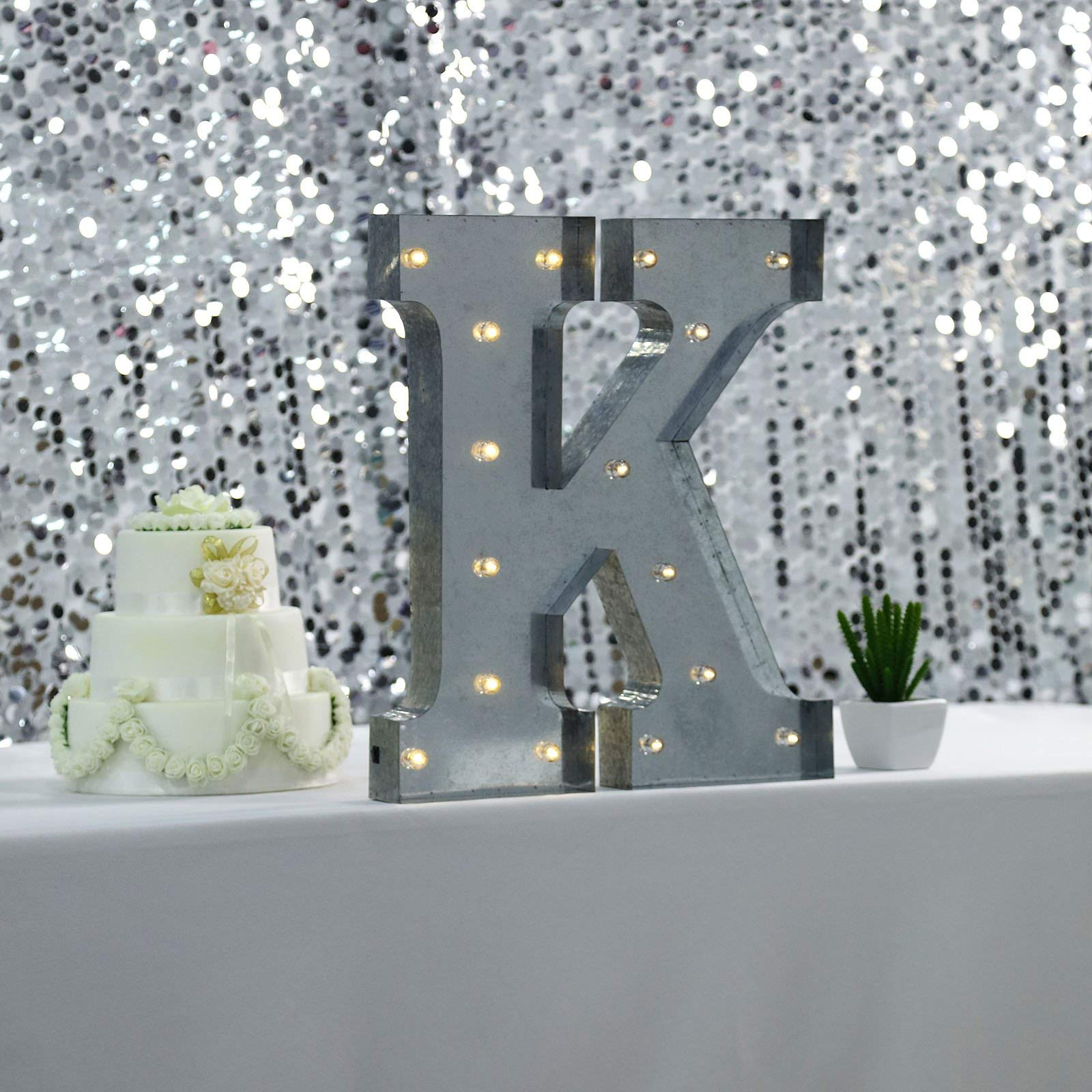 Tableclothsfactory 2 FT | Vintage Metal Marquee Letter Lights Cordless with 16 Warm White LED - K by Tableclothsfactory