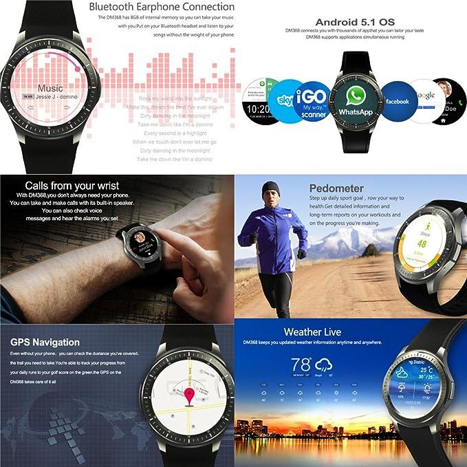 Reloj inteligente, DM368 Smartwatch Monitor de sueño podómetro ...