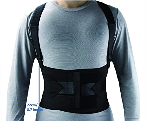 Amazon.com: ObboMed® MB-2845NS Industrial Back, Lumbar Abdominal Support Wrap Belt Brace with 4 Metal Stays Splints, extra double side straps adjustable for ...