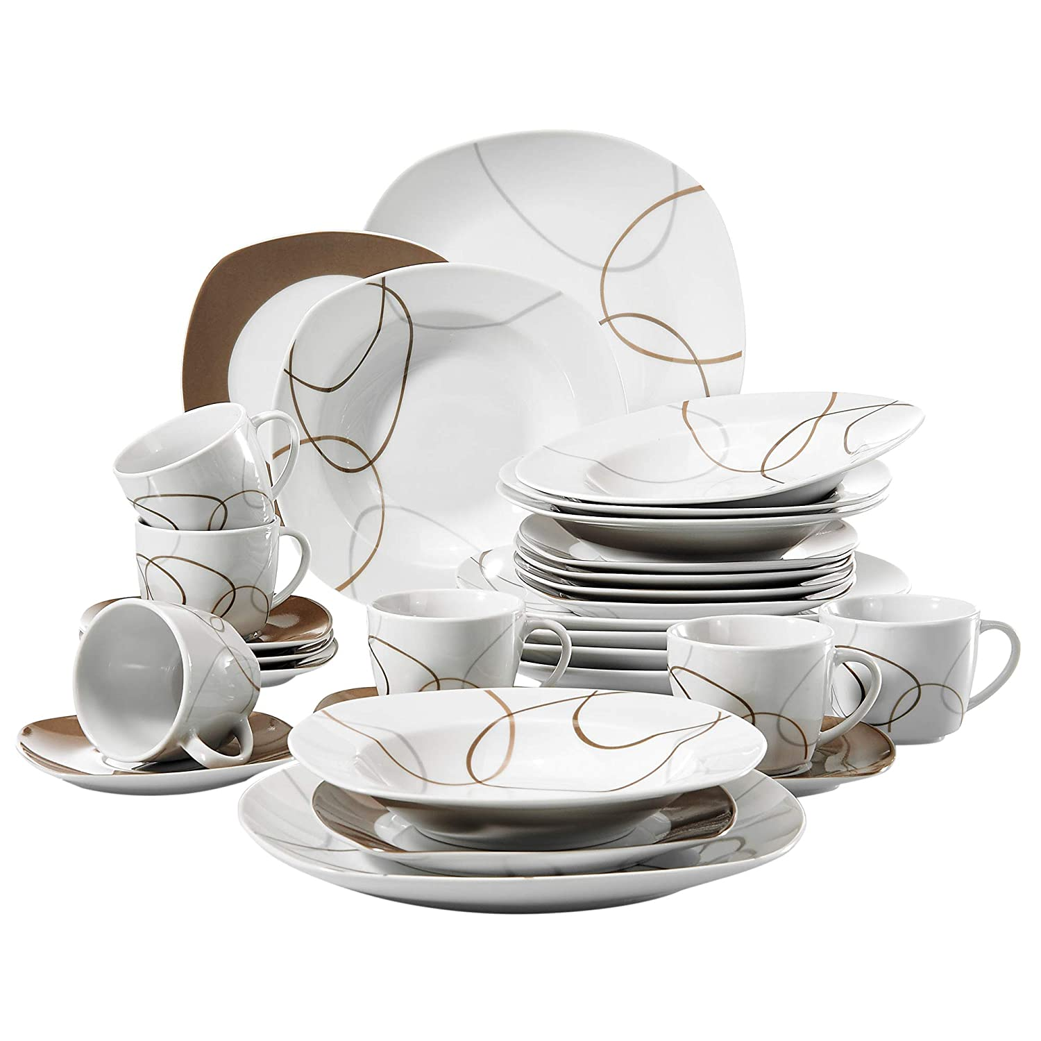 VEWEET 30-Piece Ceramic Tableware Set Brown Lines Patterns Kitchen Dinner Sets with Dinner Plate, Soup Plate, Dessert Plate, Saucer and Mug, Service for 6 (Nikita Series)