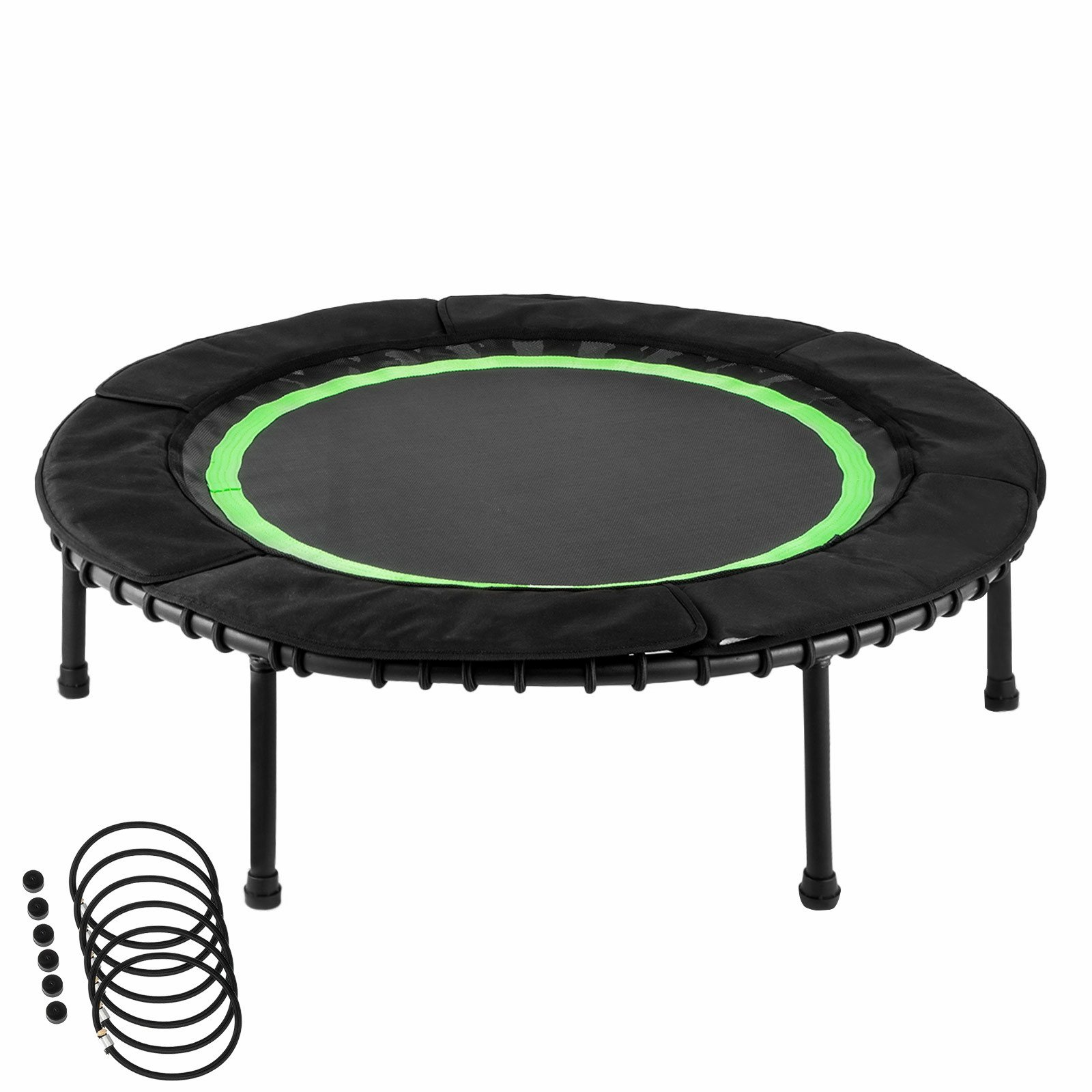 Popsport 40 Inch Mini Trampoline 330 lbs Fitness Trampoline in-HomeRebounder with Bungee Cover and Rubber Bungees for Home Cardio Exercise (40 Inch Mini Trampoline)