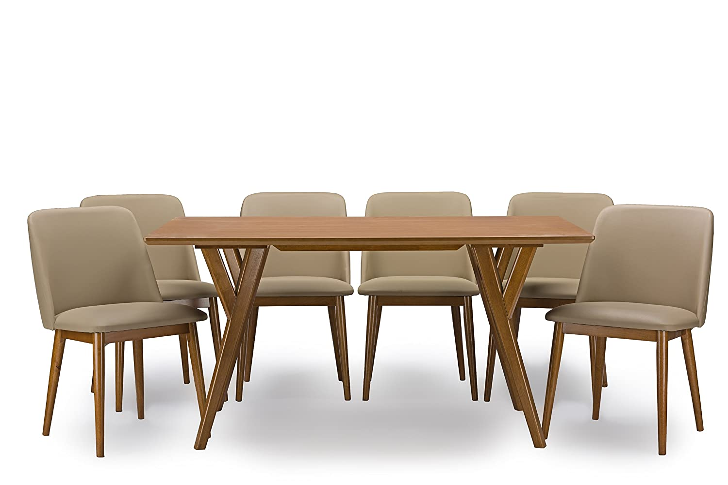 Amazon.com   Baxton Studio 7 Piece Lavin Mid Century Dining Set, Dark  Walnut   Table U0026 Chair Sets