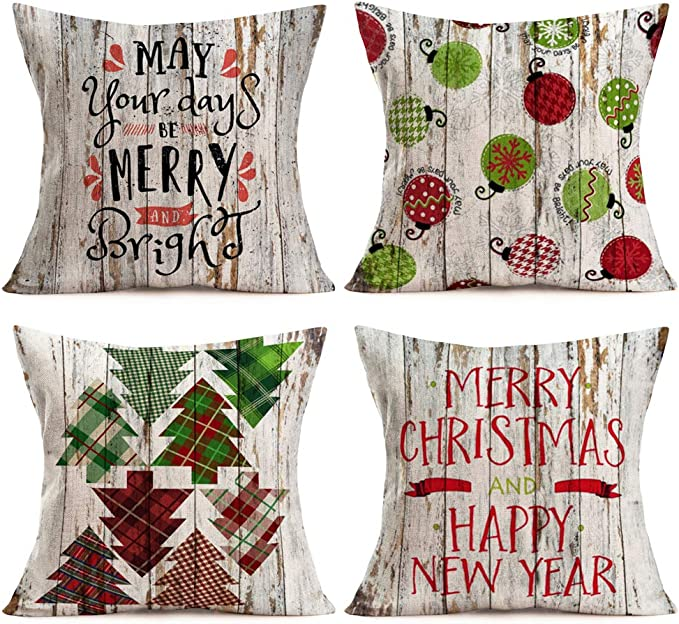 Amazon Com Aremetop Rustic Xmas Wood Pillow Covers Home Decor Pillowcases Buffalo Plaids Trees Greetings Quotes Decorative Cotton Linen Throw Pillow Case Cushion Cover For Sofa Couch 18 X18 Set Of 4 Home