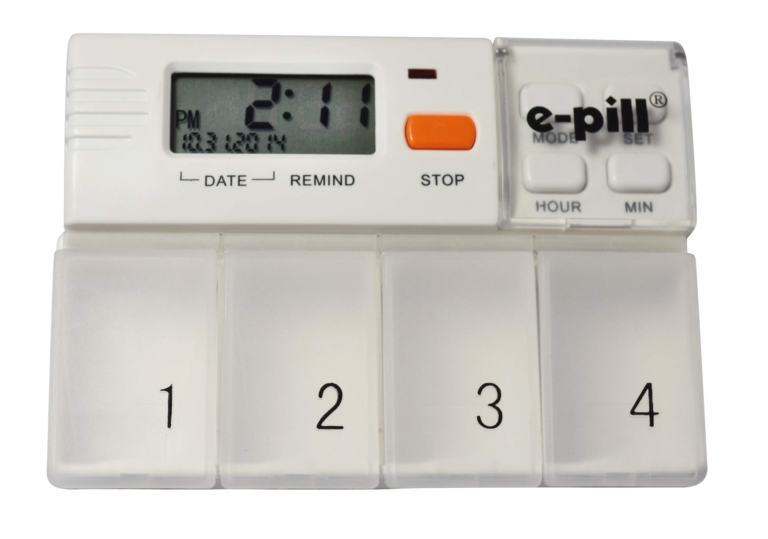 e-Pill MedGlider Reminder with Attached 4 Compartment Pill Box – Medium Capacity