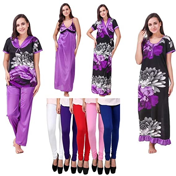 House of Sensation Gift for Women Combo Stylish Nighty for Women Night Robe  Slip Night Dress with (5 Piece Leggings Combo Multicolor Will be Shipped)   ... 637db0ed8