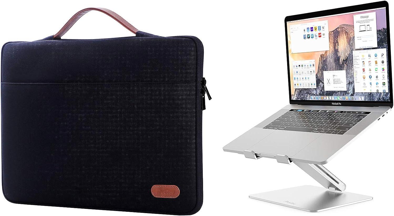 "ProCase 14-15.6 Inch Laptop Sleeve Case Protective Bag for MacBook Pro 16""/14"" 15"" 15.6"" Dell Lenovo HP Samsung Sony Chromebook Bundle with Metal Laptop Stand, Ergonomic Aluminum Laptop Holder"
