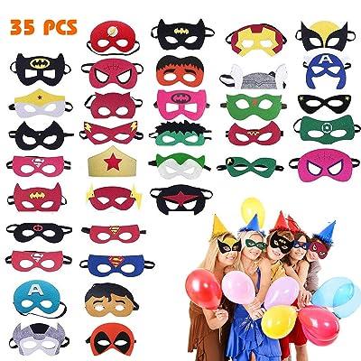 35 Piezas Máscaras de Superhéroe, Máscaras para Niños, Suministros de Fiesta de Superhéroes, Máscaras de Cosplay de Superhéroe con Cuerda Elástica Máscaras de Ojos para Niños Mayores de 3 años: Juguetes y juegos