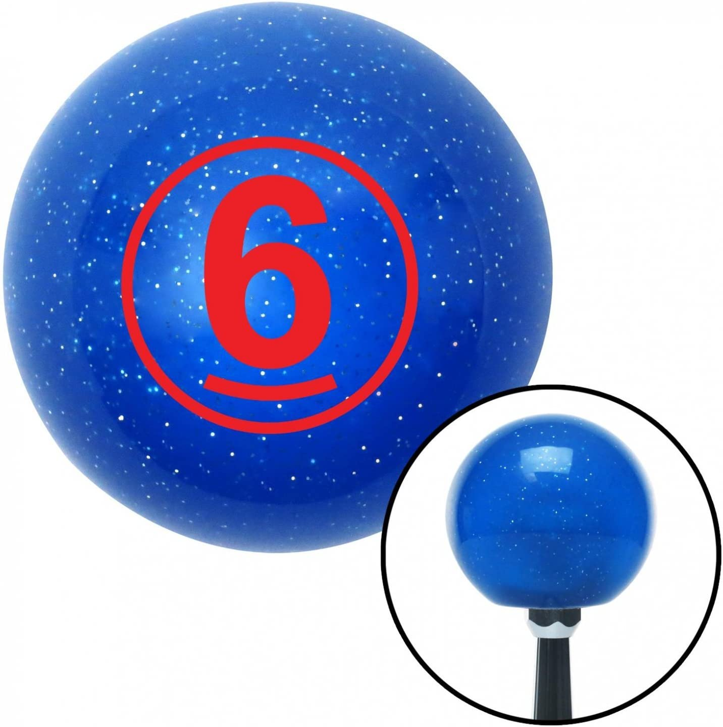 American Shifter 22324 Blue Metal Flake Shift Knob with 16mm x 1.5 Insert Red Ball 6