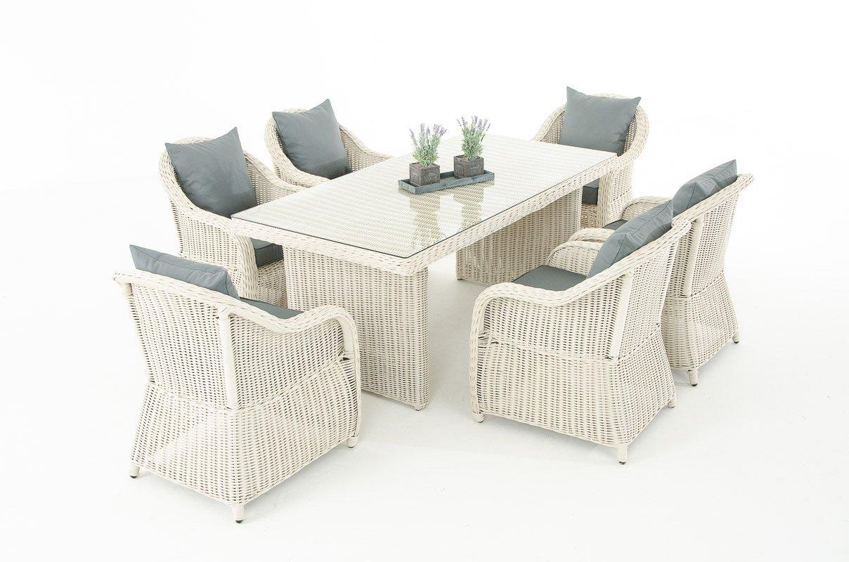 Mendler Garten-Garnitur CP071, Sitzgruppe Lounge-Garnitur Poly-Rattan ~ Kissen eisengrau, perlweiß