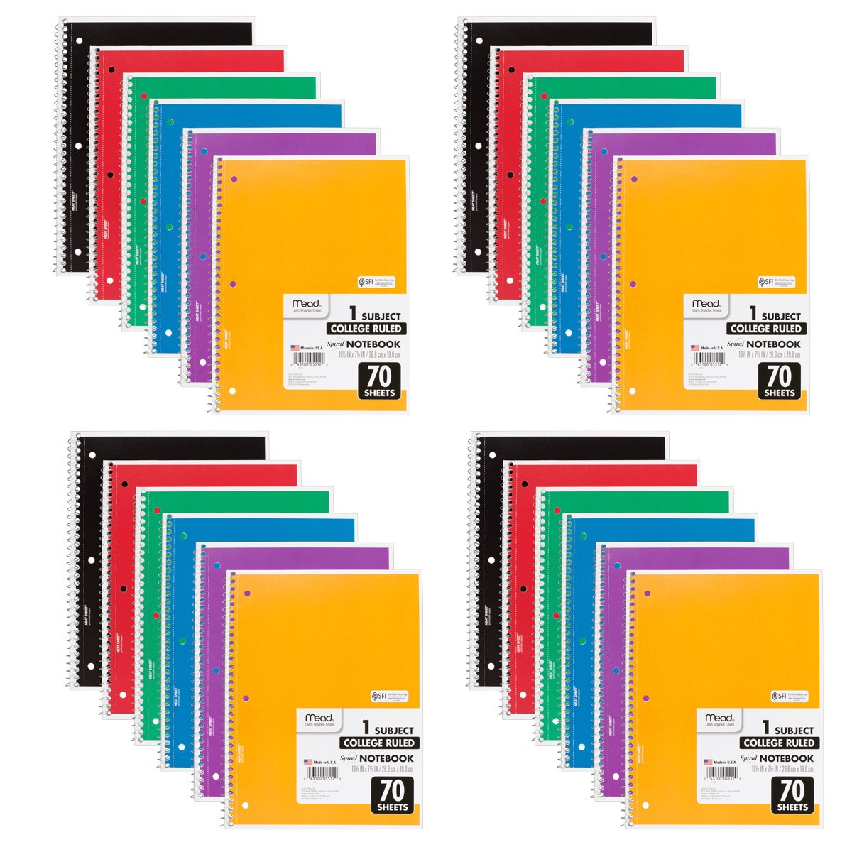 Mead Spiral Notebooks, 1 Subject, College Ruled Paper, 70 Sheets, 10-1/2 x 7-1/2, Assorted Colors, 24 Pack (73705)