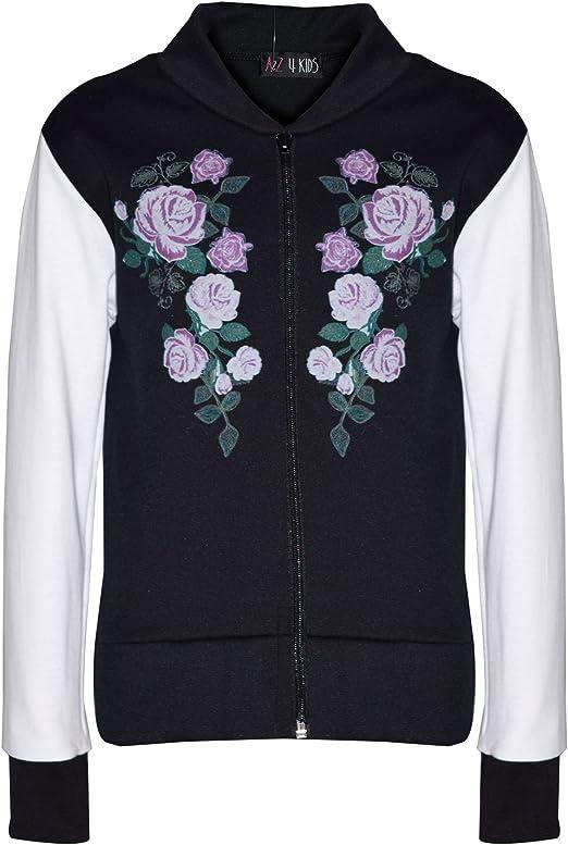 A2Z 4 Kids/® Kids Girls Jacket Floral Print Bomber Zip Up Biker Jackets MA1 Coat New Age 5 6 7 8 9 10 11 12 Years