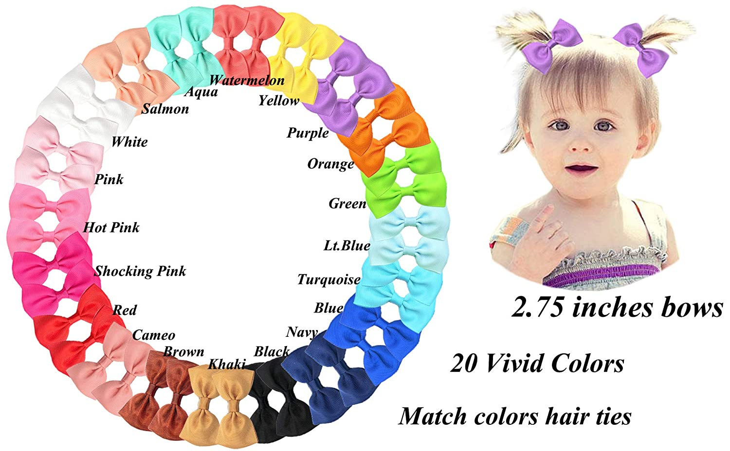 Handmade Girls Looped Hair Bow Bobbles Sold In Pairs Pink Shades //White