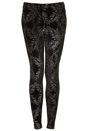 91662dcd26a30 Topshop Ladies Black Glitter Palm Ankle Leggings Size 6 £28: Amazon.co.uk:  Clothing