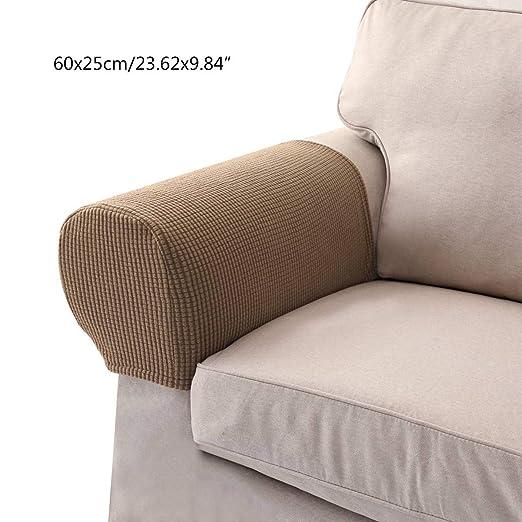 Umiwe Fundas elásticos de reposabrazos y poliéster de spandex para sillones, sofá y silla color del camello