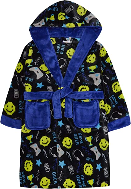 Climate Smart Boy/'s Hooded Video Game Luxe Fleece Robe