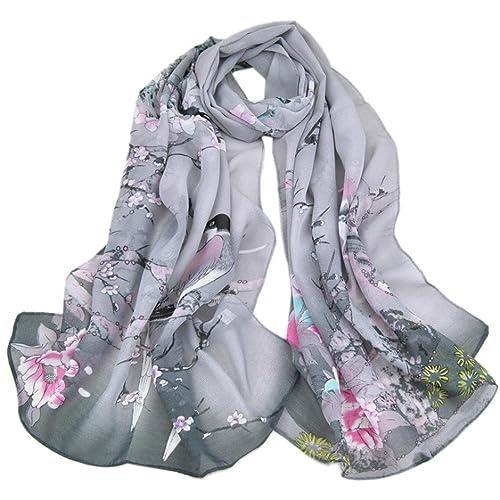 VENMO Bufanda de Moda Mujer Primavera Urraca Impresión Chal Bufandas de Gasa