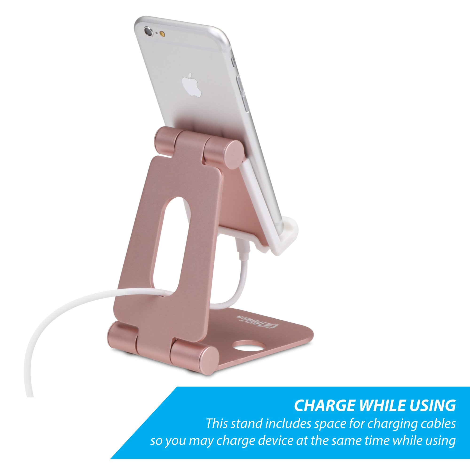 Sturdy Aluminum Phone Stand, AVLT-Power Foldable Multi Angle Phone and Tablet Holder- Portable & Adjustable Stand for Nintendo Switch, iPhone 7 6 Plus 5 5c, iPad & More by AVLT-Power (Image #7)