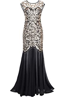 PrettyGuide Women s 1920s Black Sequin Gatsby Floor Length Evening Prom Dress