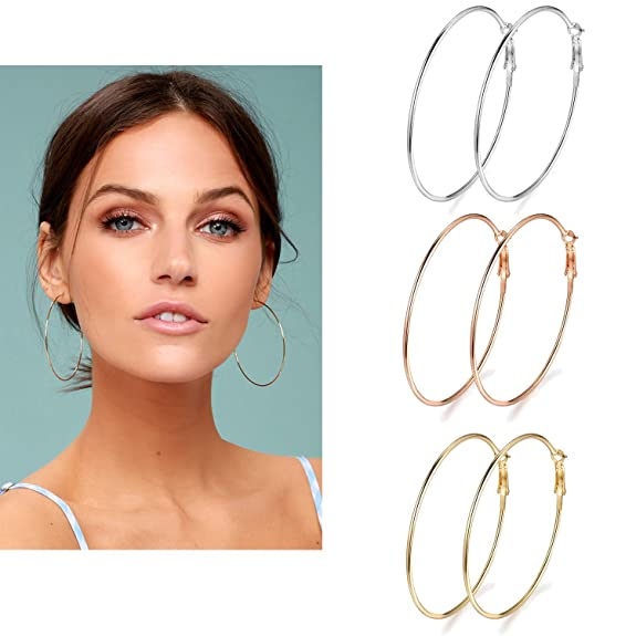 3 Pairs Big Hoop Earrings, 60mm Stainless Steel Hoop Earrings in Gold Plated Rose Gold Plated Silver for Women Girls (60mm)