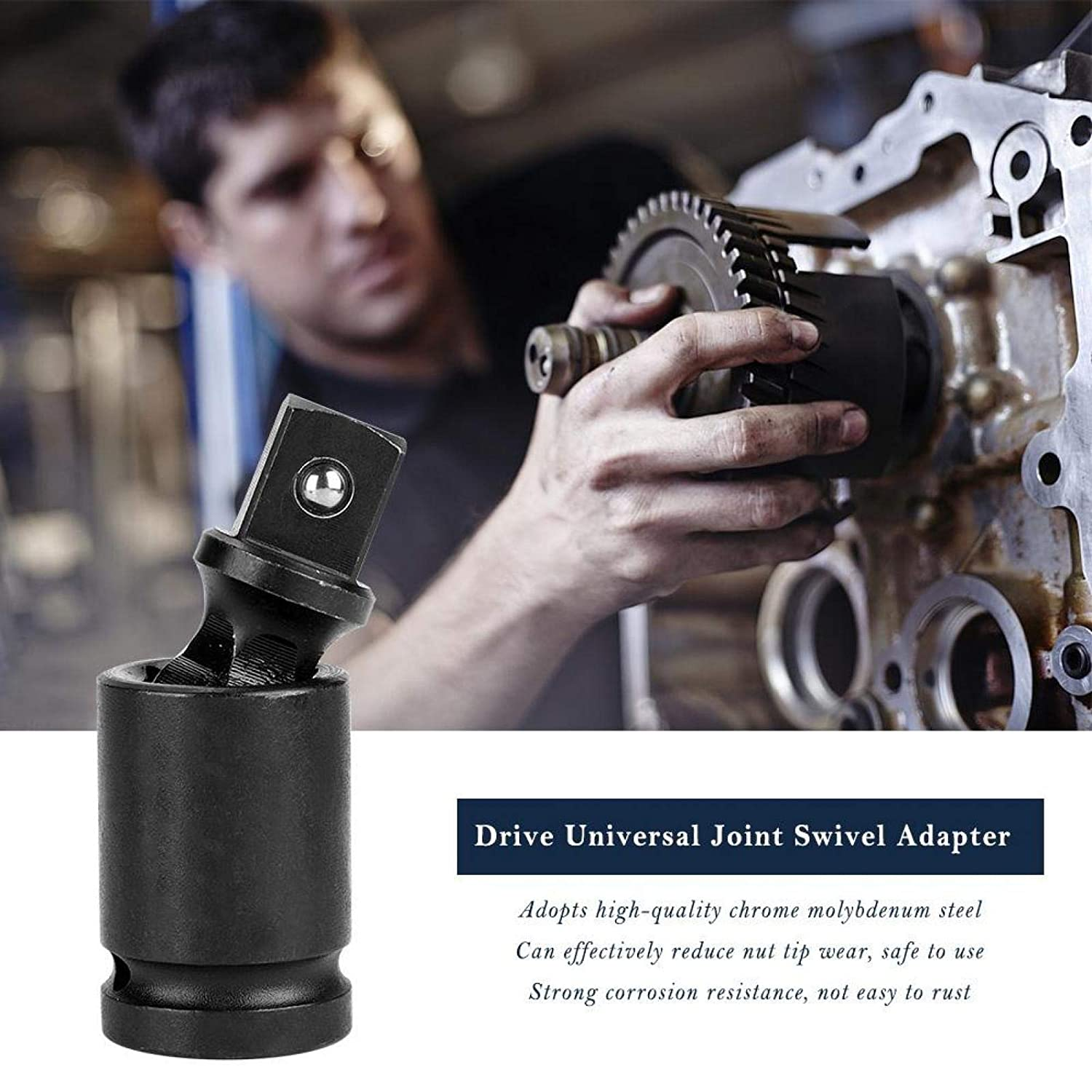 Rotate 360 /° Durable Universal Joint Adapter 3//4 inch Solid Auto Repair for Metallurgy Shipbuilding Mining Universal Joint Swivel