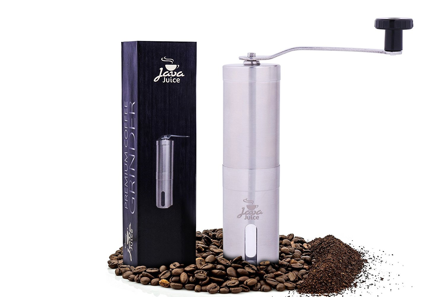 Java Juice Premium Manual Coffee Grinder By Brushed Stainless Steel Personal Coffee Mill - Precision Grinding Conical Burrs - Brewing Essentials Perfect For Home, Office, Or Travel Use