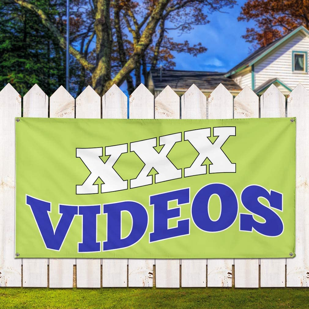 Multiple Sizes Available Vinyl Banner Sign XXX Videos Business Style S Lifestyle Marketing Advertising Green 8 Grommets 44inx110in One Banner