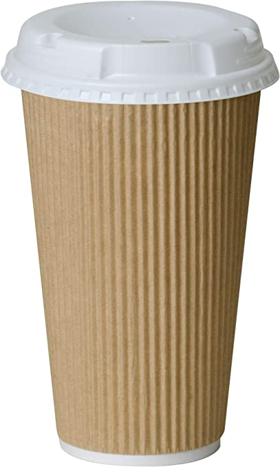 50 Pack 12 oz Disposable Coffee Cups with Lids To Go Hot Coffee Cup, Insulated & Recyclable Tan Ripple Paper Travel Cups