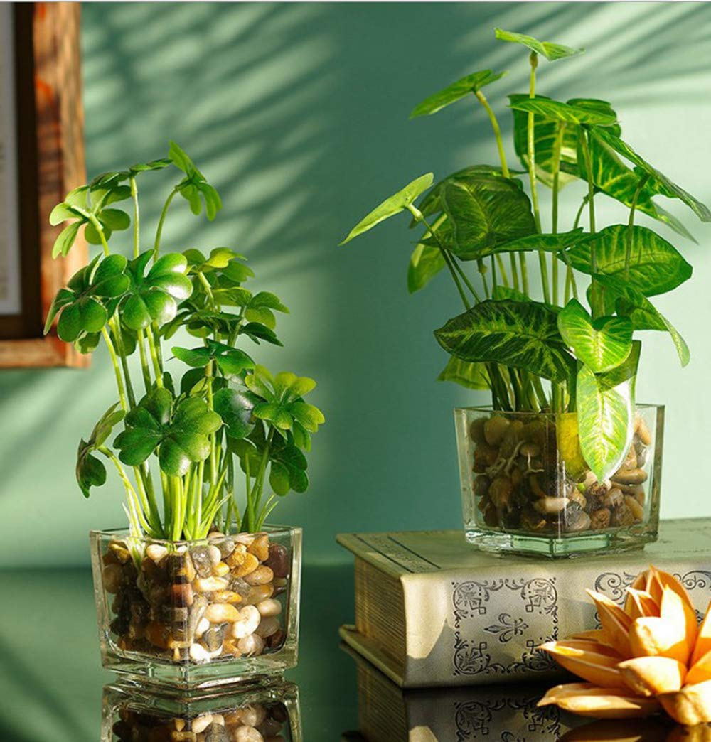Desk Plant Potted Artificial Plants 3 Pcs Set, Faux Tabletop Greenery Include Clear Glass Pots