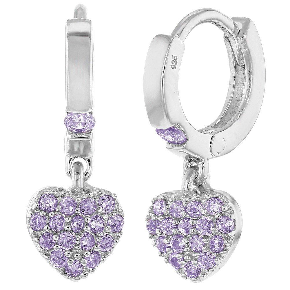 925 Sterling Silver CZ Small Hoop Dangle Heart Baby Girl Kids Earrings In Season Jewelry SS-03-00074