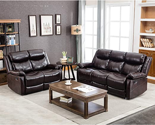 Harper&Bright Designs Brown Leather Couch Modern Sectional Reclining Sofa  Classic Recliner Sofa Chair for Living Room (Loveseat&3-Seat Sofa)