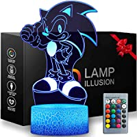 3D Illusion Sonic The Hedgehog Night Light, 16 Color Change Decor Lamp with Remote Control Kids Bedroom Decoration…
