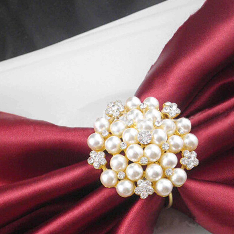 Elehere Set of 8 Rhinestone Napkin Ring Pearl Wedding Napkin Holder Home Table Decor Diamante
