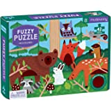 """Mudpuppy Woodland Fuzzy Puzzle, 42 Chunky Pieces, 15""""x11"""" – For Ages 3+ - Woodland Animals Puzzle with Soft Embellishments Th"""