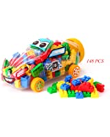 NiGHT LiONS TECH 148 PCS Kids Christmas Gifts Educatinal Building Bricks Blocks Toys Sets for Kids Toddlers Baby Children Packed in a Cartoon Car Compatible More Brands Blocks