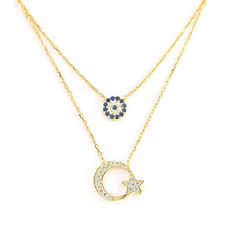 Remi Bijou - 925 Sterling Silber Zweilagige Halskette Kette + 2 Anhänger - Zirkonia Steinchen - Evil Eye blaues Auge Mond Stern Ay Yildiz - Gold Farbe