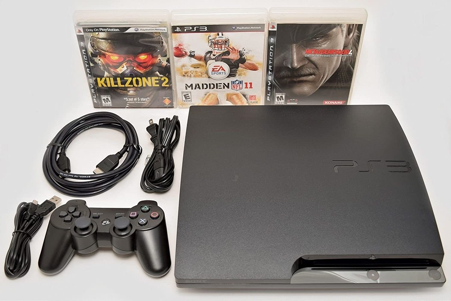 Sony Playstation 3 Slim 320gb Game Console System PS3 Bundle with 3 Games Madden Killzone 2 Metal Gear Solid 4