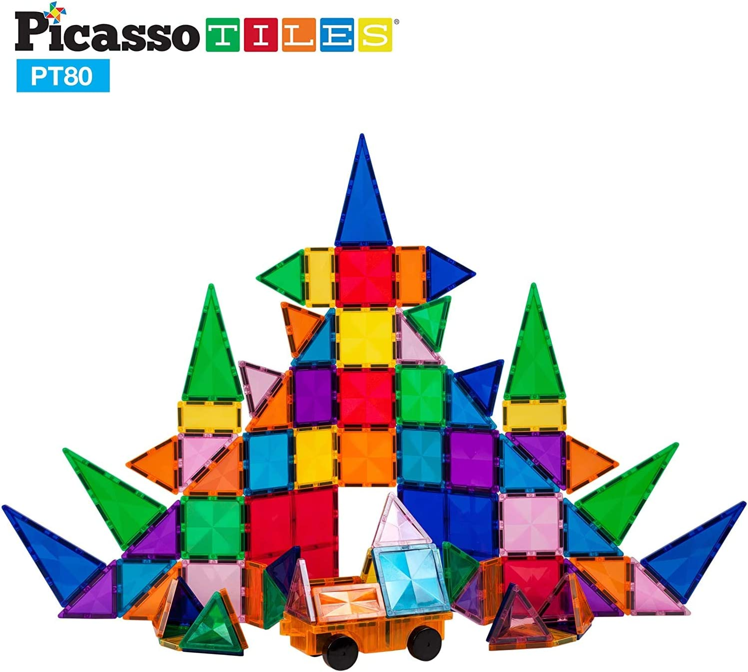 PicassoTiles 80 Piece Magnetic Building Block Construction Toy Set Diamond Magnet Tile Blocks with Car Truck STEM Learning Kit Early Education Builder Playset Toys for Children Toddler Boy Girl Age 3+